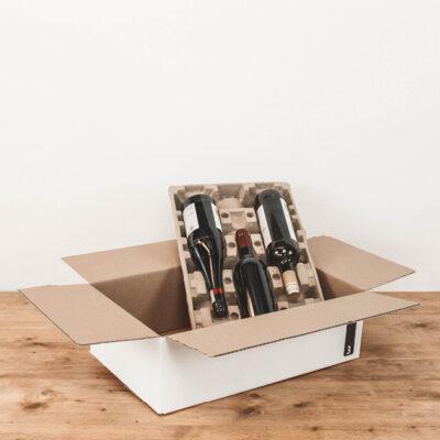 Afbeelding voor Verzenddoos voor 3 wijnflessen – liggend